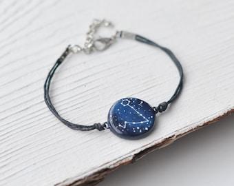 Horoscope poissons bracelet mars anniversaire cadeau bleu Initial cosmique bijoux signe du zodiaque soeur naissance cadeau astrologie février copain pour homme