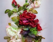 """Wall handing art, embroidery picture """"Red roses"""" Silk ribbon embroidery, ribbon work, ribbon roses, embroidery art gift for her   roses"""