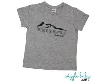 Asheville NC, Take Me To The Mountains Kids Tee Heather Grey, Mountain Tee, Baby and Kids Tees, Into the Mountains, Blue Ridge Mountains