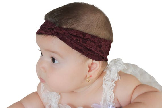 Lace Baby Headband, Brown Headband, Baby Headband, Baby Headwrap, Hair Accessories, Toddler Turban, Head Wrap Headband, Lace Head Wrap
