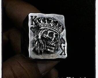 Sterling Silver Poker Ring Skull King of Hearts Ring Texas Holdem Skull Ring Poker Skull Ring King of Hearts Ring Skull King of Hearts King