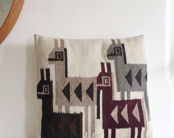 Vintage Peruvian Print Cream Throw Pillow . Bohemian Pillow . Bedroom .