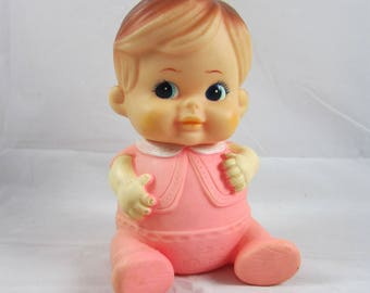 Iwai Pink Chubby Baby Squeak Toy Doll Japan Iwai Pink Rubber Baby Vintage 1968