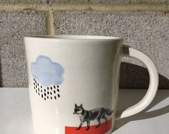 Fox Mug Ceramic Handmade