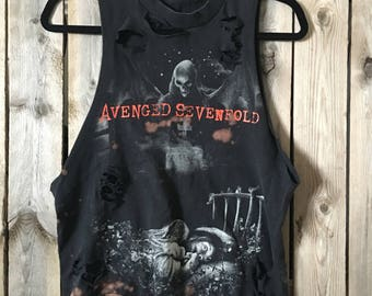 Avenged Sevenfold,small,heavy metal, metalcore, distressed, bleached band shirt, tank, distressed band t, distressed concert t