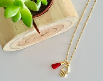 "Hamsa Gold Necklace | Tassel Necklace | Hamsa Necklace | 16"" Gold Necklace"