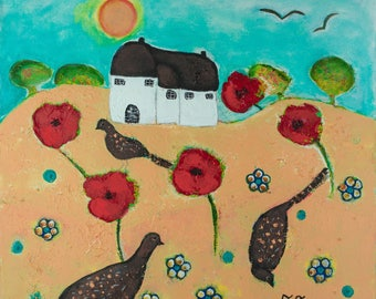 Poppy Painting, Summer Landscape, Naive Art Painting, Countryside Artwork, Pheasant Painting, Yellow Artwork, Nature Painting, Red Flowers