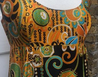 Late 60s glazed cotton maxi dress Klimt like print fab psychedelic