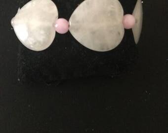 Heart shaped rose quartz bracelet