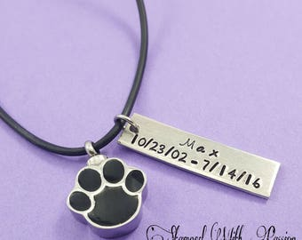 Pet Cremation urn personalized with name and date- Lost pet - Pet lover - Deceased pet - Pet urn - Pet necklace - Pet Lover gift