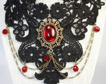 black lace necklace with garnet glass cabochon