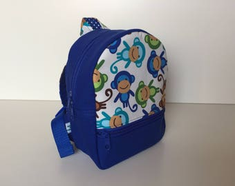 Backpack (S) 'Monkey Party' white-blue