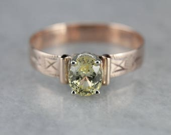 Victorian Yellow Sapphire Solitaire, Antique Rose Gold Solitaire, Unique Engagement Ring 5LL36T-N
