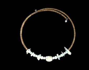 Mother of Pearl Choker / Memory Wire Necklace/ Boho  Wood Heishi Beads  /Hippie Era Fashion/