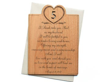 Personalized 5th Anniversary Card with Engraved Vows for Him, for Her.  Wedding Vows Wood. 5 Year Anniversary Gifts for Men.