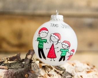Personalized Family Christmas Ornament (Up to 10 Family members) - Santa Hats