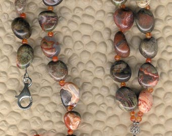Playtime - Picture Jasper Puppy Pendant, Spiderweb Agate, Carnelian, Sterling Silver Necklace