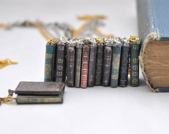 Shabby Book Pendant Necklace OOAK Handmade Vintage Style Miniature Book Jewelry Geekery Shabby Chic Book Lover Gift Bookworm for her