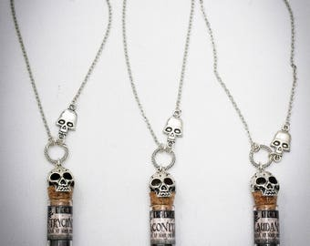 Poison necklace - choose your poison - resin potion - deadly potion - witchcraft -witch necklace