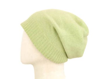Thick Cashmere Slouchy Hat, Pure Cashmere Beanie Hat, Handmade Hat, Upcycled Cashmere Beanie, Felted Cashmere, Warm Winter Hat, Light Green