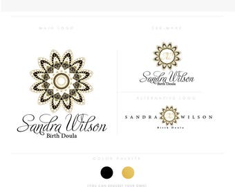 mandala 3 script flower golden healthcare logo Douala Initials moms care wedding boutique feminine elegant fashion business cards banner