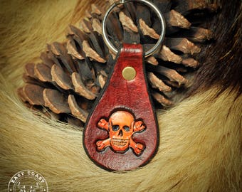 Leather Keychain Fob - Pirate Skull