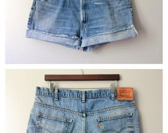 RARE Levi's 509 High Waist Shorts Vintage Levis Cut Off Denim Cutoffs Distressed Zip Fly Jeans Orange Tab Leather Tag 37 16 18 X-Large XXL