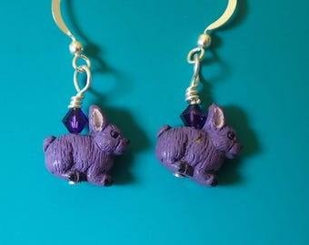 Purple Rabbit Swarovski Earrings