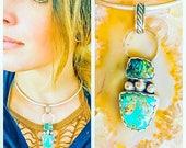 Boho Necklace, Sterling Silver Boho Necklace, Turquoise Pendant, Boulder Opal Pendant, Silver Choker, Handmade Necklace, Silver Jewelry