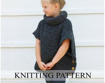 Knitting Pattern Chunky Cape : Knit cape pattern Etsy