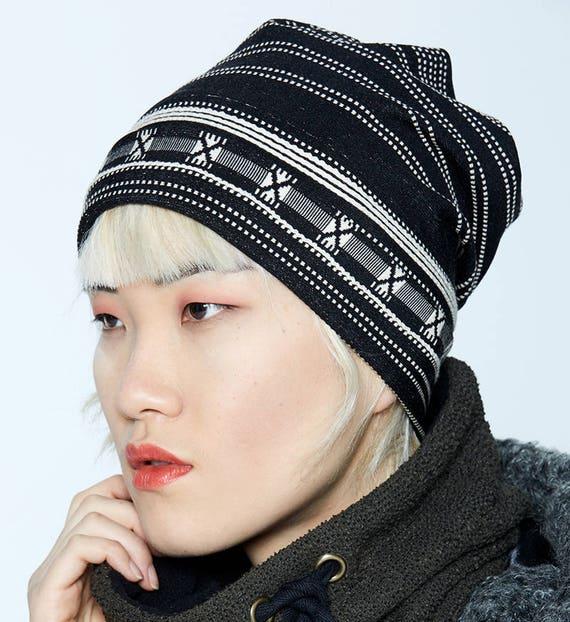 NYTVA - fall unisex print toque, hat, cap - black striped