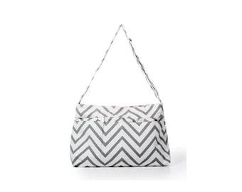 Gray Chevron Tote Bag - Diaper Bag - School Bag - Messenger
