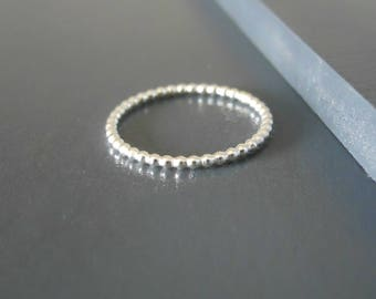 Thin Beaded Sterling Silver Ring, Skinny Beaded Ring, Minimal Beaded Siver Ring, Stacking Silver Ring, Beaded Ring, Midi Silver Ring