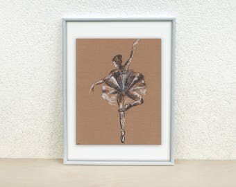 Ballerina art. Sketch of a Ballerina. Ballerina charcoal drawing. Ballet Dancer art. Ballerina painting Original ballet drawing. Ballet art
