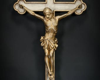 """31"""" Large French Antique Wooden Monastery Wall Crucifix Carved Corpus Christi Cross"""