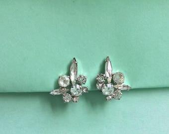 Vintage Clear Rhinestone  Clip On Earrings Wedding Bridal Jewelry Gift Idea