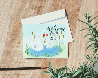 Welcome Little One - New Baby Card - single folded card