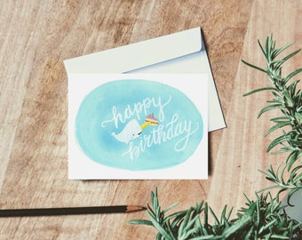 Happy Birthday Narwhal Card - Birthday Greetings - Happy Birthday Card