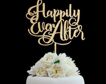 Customized Wedding Cake Topper, Personalized Cake Topper for Wedding, Custom Personalized Wedding Cake Topper Happily Ever After Cake Topper