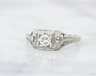 antique engagement ring art deco ring 18k white gold vintage diamond ring - 1920s Wedding Rings