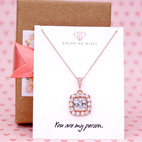 Rose Gold Luxe Cubic Zirconia Square Drop necklace, Halo style crystal necklace, bride bridesmaid bridal wedding jewelry N61
