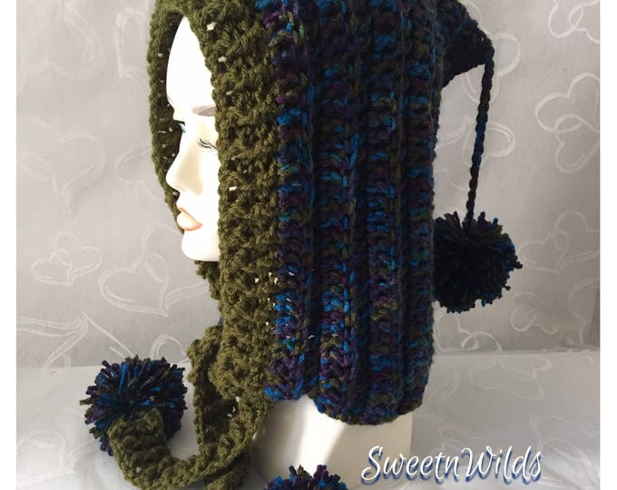 Crocheted Hoodie-Hooded Hat-Fairy Hood-Peacock Color-Mens Hoodies-Elf Hats