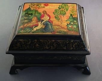 Russian Hand Painted Lacquer Box, Signed, Mystera Style