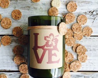 Love hibiscus flower...Candles made out of recycled wine bottles