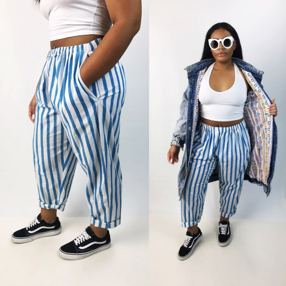 Handmade Teal & White Vertical Striped Cotton Trousers Medium - Striped Casual Tapered Leg Pants - Printed VTG Funky Trousers With Pockets