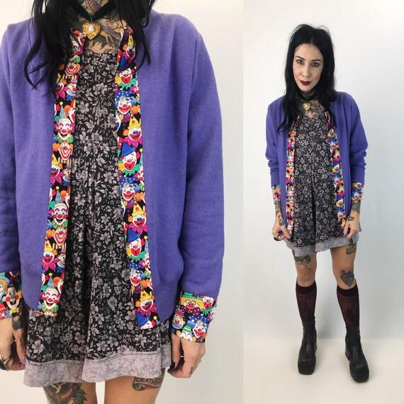 Creepy Clown Upcycled Cardigan Medium - One Of A Kind Open Front Cardigan Pastel Purple Clown Jacket - Happy Clown Remade Cotton Sweatshirt