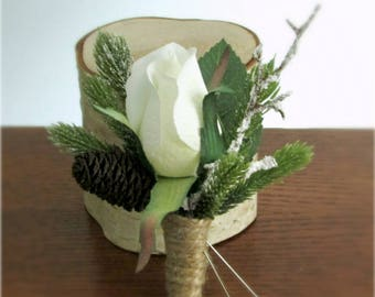 """Rustic Winter Boutonnieres, White Rose, Pine, Frosted Branch, Mini Pine Cone, and Twine Wrap, Winter Wedding, """"Snow Blossom"""""""