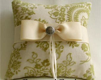 """Chartreuse Green and Ivory Ring Bearer Pillow, Linen, Velvet, Bow, Floral Wedding Ring Cushion, """"Golden Sage"""""""