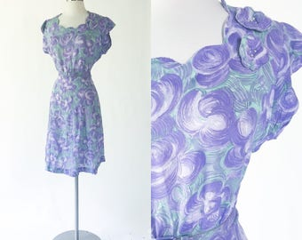 1940s vintage sheer rayon midi dress / purple and green abstract floral print / rhinestone studded / scalloped neck / matching belt
