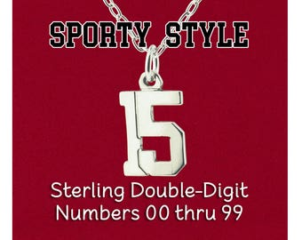 "Custom Double Digit Number ""Pretty Sporty"" Varsity Sports Uniform, Year Charm Pendant 925 Sterling Silver Personalized Jewelry Necklace"
